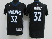 Mens Nba Minnesota Timberwolves #32 Karl-anthony Towns Black Sleeved Jersey