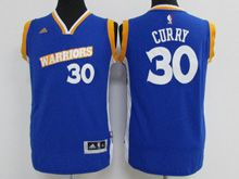 Youth Adidas Golden State Warriors #30 Stephen Curry Royal Blue Stretch Crossover Swingman Jersey