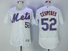 Mens Majestic Mlb New York Mets #52 Yoenis Cespedes White Stripe Flex Base Jersey