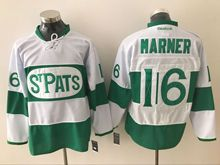Mens Reebok Nhl Toronto Maple Leafs Stpats #16 Mitchell Marner White Green Ice Jersey