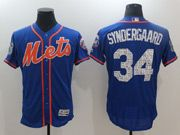 Mens Majestic New York Mets #34 Noah Syndergaard Blue 2017 Spring Training Flex Base Jersey