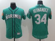 Mens Majestic Seattle Mariners #34 Felix Hernandez Green 2017 Spring Training Flex Base Jersey