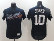 Mens Majestic Atlanta Braves #10 Chipper Jones Navy Blue 2017 Spring Training Flex Base Jersey