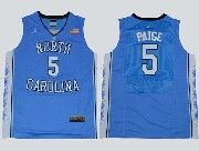 Mens Ncaa Nba North Carolina #5 Paige Blue Jersey