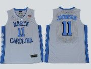 Mens Ncaa Nba North Carolina #11 Johnson White Jersey