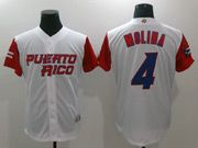 Mens Mlb Puerto Rico Team 2017 Baseball World Cup #4 Molina White Jersey