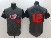 Mens Mlb Usa Team 2017 Baseball World Cup #12 Arenado Grey Jersey