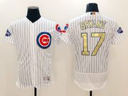Mens Majestic Mlb Chicago Cubs #17 Bryant White 2017 Gold Program Flex Base Player Jersey