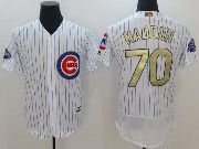 Mens Majestic Mlb Chicago Cubs #70 Maddon White 2017 Gold Program Flex Base Player Jersey
