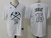 Mens Nba Denver Nuggets #15 Nikola Jokic White With Sleeve Basketball Jersey