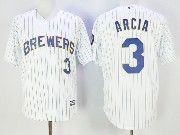 Mens Mlb Milwaukee Brewers #3 Orlando Arcia White Pinstripe Cool Base Baseball Jersey