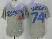 Mens Majestic Mlb Los Angeles Dodgers #74 Kenley Jansen Grey Flex Base Baseball Jersey