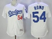 Mens Majestic Mlb Los Angeles Dodgers #54 Sergio Romo White Flex Base Baseball Jersey