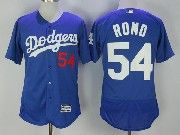 Mens Majestic Mlb Los Angeles Dodgers #54 Sergio Romo Blue Flex Base Baseball Jersey