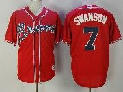 Mens Majestic Mlb Atlanta Braves #7 Dansby Swanson Red Cool Base Baseball Jersey