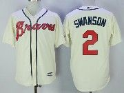 Mens Majestic Mlb Atlanta Braves #2 Swanson Cream Cool Base Baseball Jersey