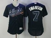 Mens Majestic Mlb Atlanta Braves #7 Dansby Swanson Dark Blue Flex Base Jersey