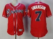 Mens Majestic Mlb Atlanta Braves #7 Dansby Swanson Red Flex Base Jersey