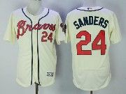 Mens Majestic Atlanta Braves #24 Deion Sanders Cream Flex Base Jersey