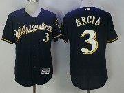 Mens Mlb Milwaukee Brewers #3 Orlando Arcia Blue Cool Base Baseball Jersey