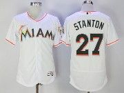 Mens Majestic Miami Marlins #27 Giancarlo Stanton White Flex Base Jersey