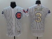 Mens Majestic Mlb Chicago Cubs #3 David Ross White 2017 Gold Program Flex Base  Jersey