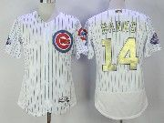 Mens Majestic Mlb Chicago Cubs #14 Ernie Banks White 2017 Gold Program Flex Base Jersey