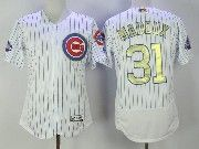 Mens Majestic Mlb Chicago Cubs #31 Greg Maddux White Gold Program Flex Base Jersey