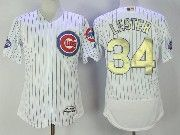 Mens Majestic Mlb Chicago Cubs #34 Jon Lester White Gold Program Flex Base Jersey