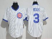 Mens Mlb Chicago Cubs #3 David Ross White Cool Base Pullover Baseball Jersey