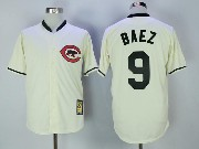 Mens Mlb Chicago Cubs #9 Javier Baez Cream Throwback Jersey