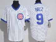 Mens Mlb Chicago Cubs #9 Javier Baez White Cool Base Pullover Jersey