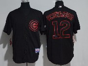 Mens Majestic Mlb Chicago Cubs #12 Kyle Schwarber Black Ice Cool Base Jersey