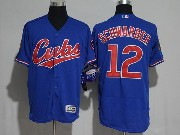 Mens Majestic Mlb Chicago Cubs #12 Kyle Schwarber Blue Flex Base Jersey
