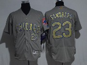 Mens Majestic Mlb Chicago Cubs #23 Ryne Sandberg Grey Flex Base Jersey