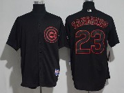 Mens Majestic Mlb Chicago Cubs #23 Ryne Sandberg Black Ice Cool Base Jersey