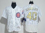 Mens Majestic Mlb Chicago Cubs #40 Willson Contreras White Gold Program Flex Base Jersey
