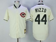 Mens Mlb Chicago Cubs #44 Anthony Rizzo Cream Throwback Jersey