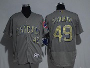 Mens Majestic Mlb Chicago Cubs #49 Jake Arrieta Grey Gold Program Flex Base Jersey