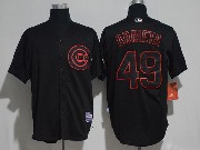 Mens Majestic Mlb Chicago Cubs #49 Jake Arrieta Black Ice Cool Base Jersey