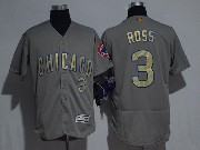 Mens Majestic Mlb Chicago Cubs #3 David Ross Grey Gold Program Flex Base Jersey