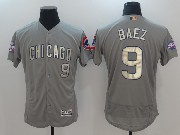 Mens Majestic Mlb Chicago Cubs #9 Javier Baez Grey Gold Program Flex Base Jersey
