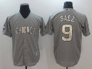 Mens Majestic Mlb Chicago Cubs #9 Javier Baez Grey Gold Program Cool Base Jersey