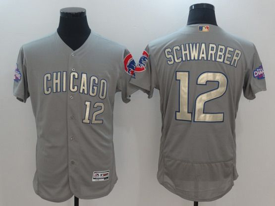Mens Majestic Mlb Chicago Cubs #12 Kyle Schwarber Grey Gold Program Flex Base Jersey