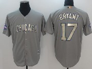 Mens Majestic Mlb Chicago Cubs #17 Kris Bryant Grey Gold Program Cool Base Jersey