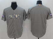 Mens Majestic Mlb Chicago Cubs Blank Grey Gold Program Cool Base Jersey