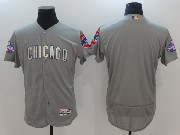 Mens Majestic Mlb Chicago Cubs Blank Grey Gold Program Flex Base Jersey