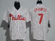 Mens Majestic Philadelphia Phillies #7 Maikel Franco White Stripe Cool Base Jersey