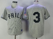 Mens Mlb Philadelphia Phillies #3 Chuck Klein Gray 1942 Authentic Baseball Jersey
