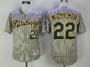 Mens Majestic Mlb Pittsburgh Pirates #22 Andrew Mccutchen Gray Stripe Black Cool Base Jersey
